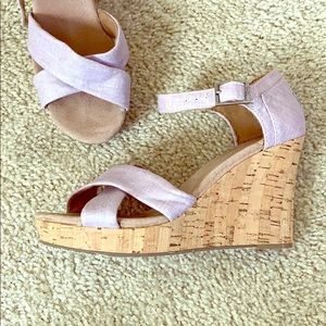 Toms Lavender Wedge Strap Sandals